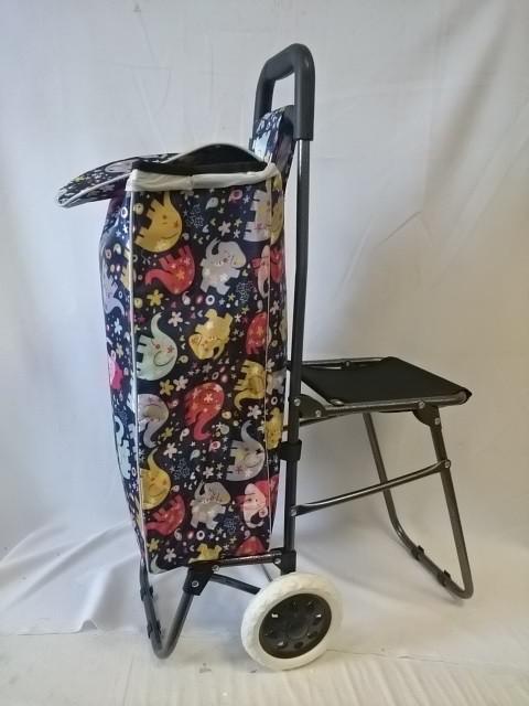 Тележка хозяйственная с сумкой и откидным стулом, 90,5*34*56 см, колёса 16 см.