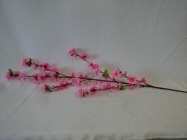 Ветка сакуры розовая, 120 см, пластик, ткань, металл, 1 штука.