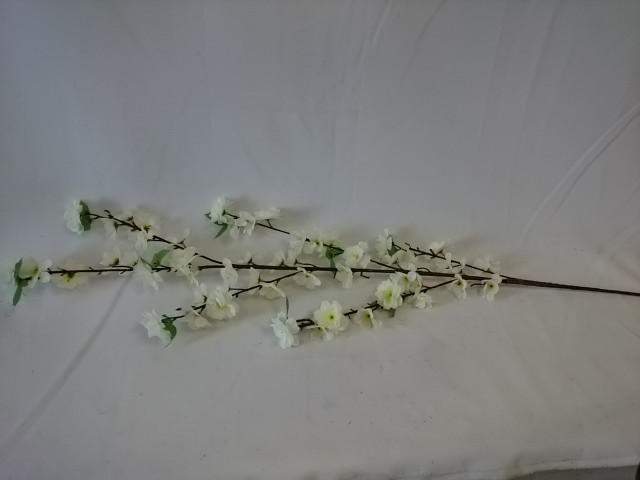 Ветка сакуры белая 120 см, пластик, ткань, металл, 1 штука.