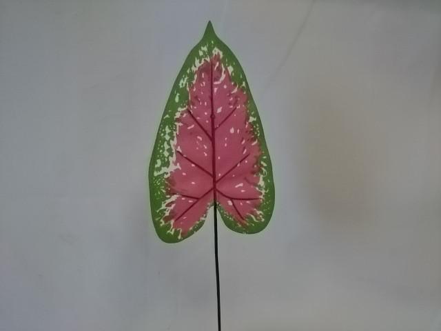 Лист диффенбахии пёстрый, 35 см * 10 см, 1 штука, пластик, металл.