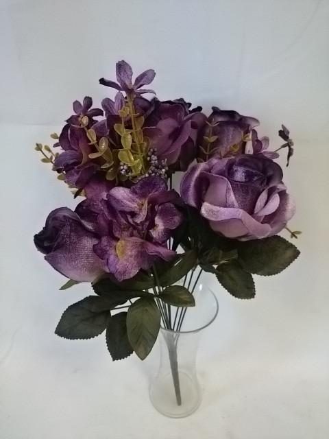 Букет роз флористический, 46 см, 11 групп, велюровый, с бутонами и добавками, цена за 1 штуку.