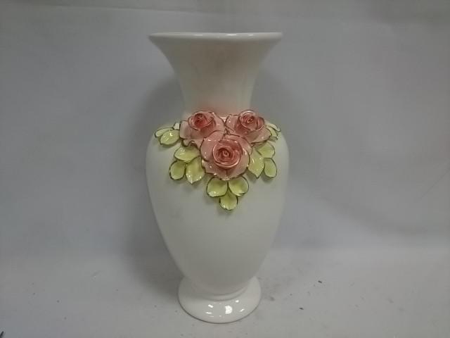 """Ваза большая """"Афина"""", 37 см, белая с цветной лепкой, керамика."""