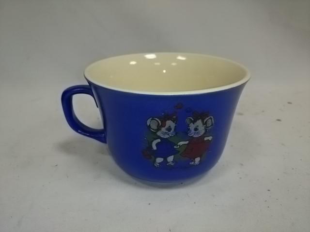 """Чашка 500 мл """"Мыши танцуют"""", синяя."""