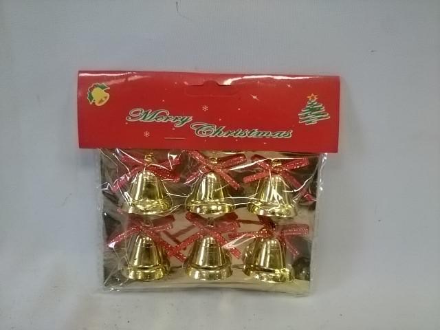 """Украшение новогоднее """"Колокольчики"""" 3см, набор из 6 штук."""