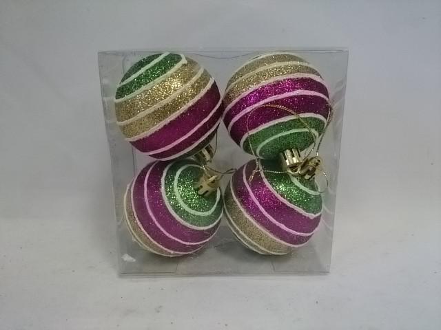 Новогодние шары, d - 6 см, набор из 4 штук.