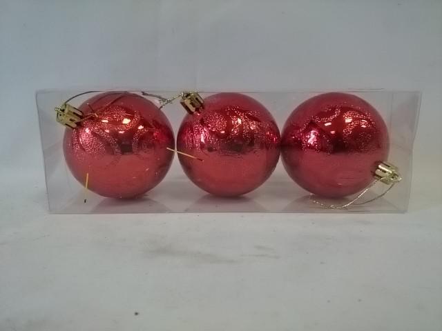 Новогодние шары, d - 7 см, набор из 3 штук.