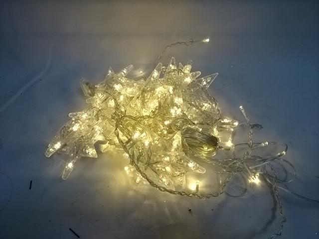 Бахрома для дома 2,5м*1/0,1 м, 130 ламп LED, с насадками Звезда, тёплый белый цвет, с возможностью соединения.