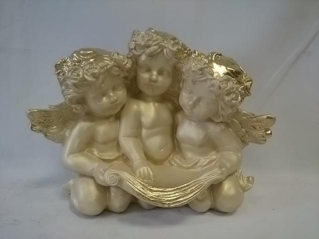 Сувенир Ангел тройной античный, 25 х 22 см, гипс.