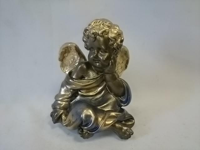 Сувенир Ангел сидя бронза/золото, 17 см, гипс.