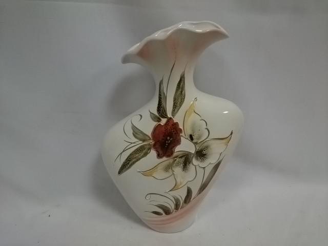 """Ваза """"Лира"""", керамика, 39 см, белая с цветком."""