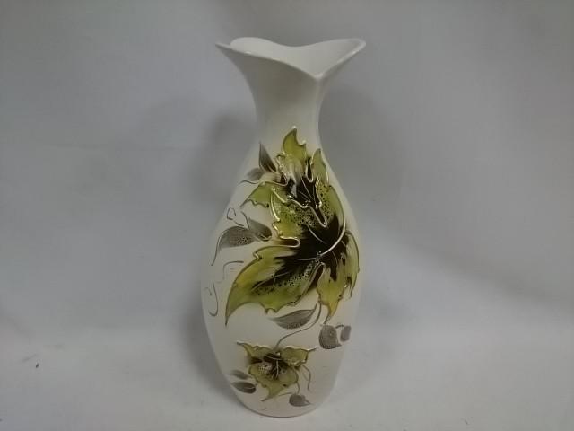 """Ваза """"Лотос"""", керамика, 31 см, белая с зелёным листком."""