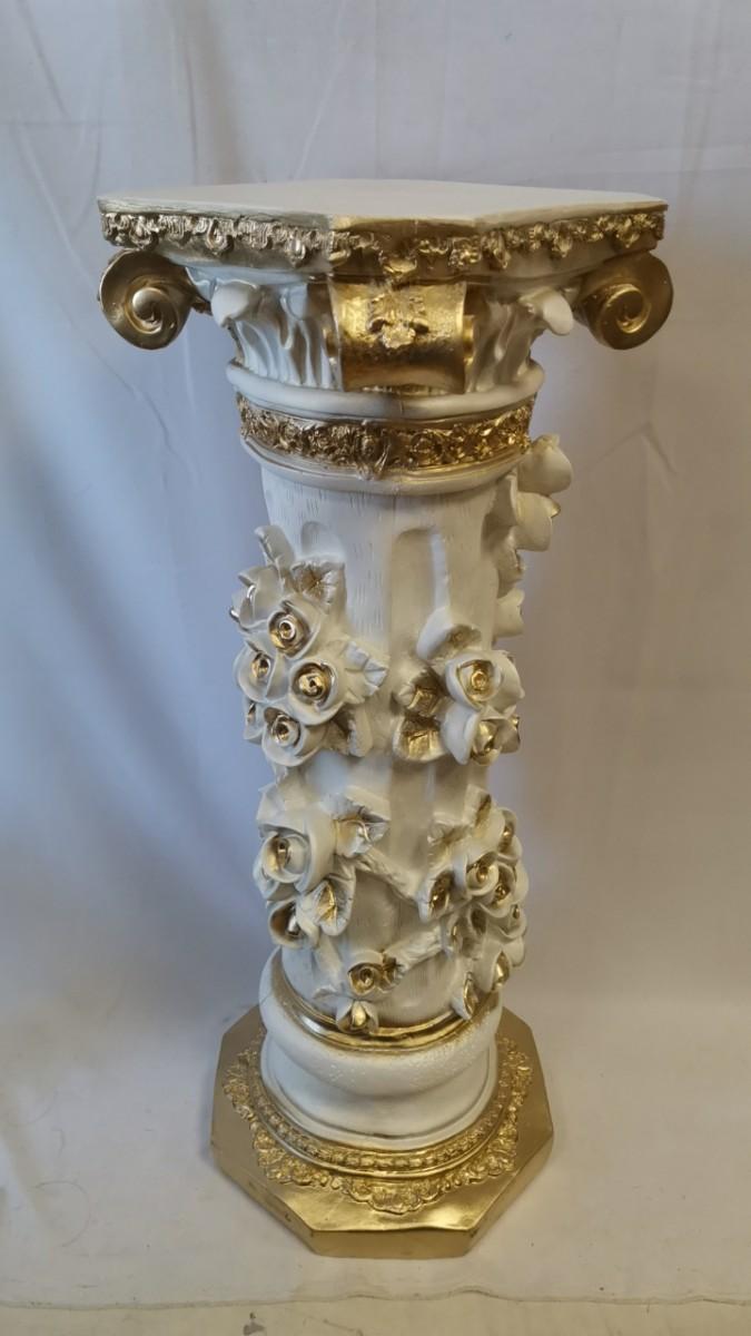 """Колонна """"Афина"""", h-89 см, цвет - белый с золотом, гипс."""