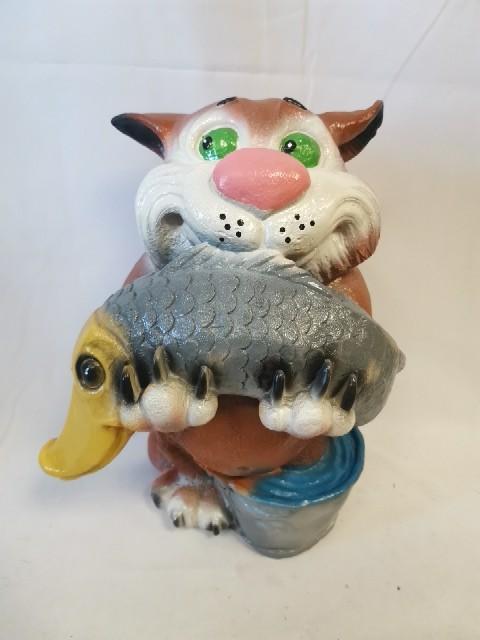 Кот - Рыбак, h - 40 см, гипс.