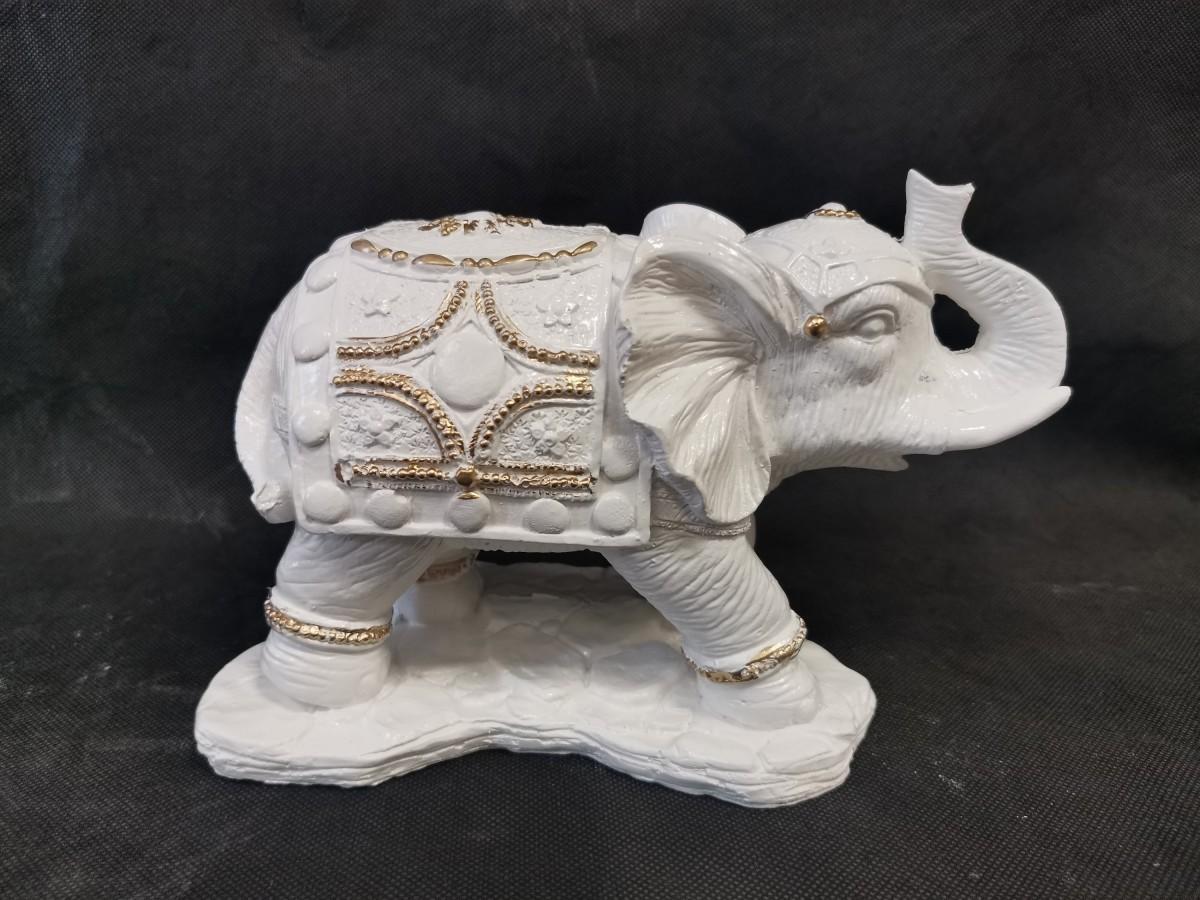 """Копилка """"Слон"""", 15*24 см, гипс, цвет - белый."""