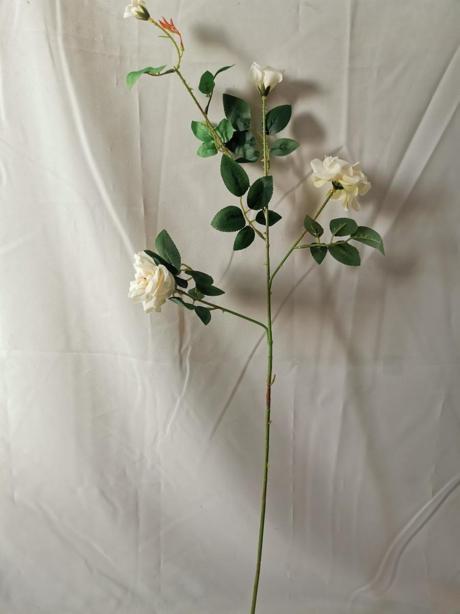 Ветка роз мелких, 88 см, 2 цветка + 2 бутона, 1 штука, пластик, ткань, металл, цвет - белый.