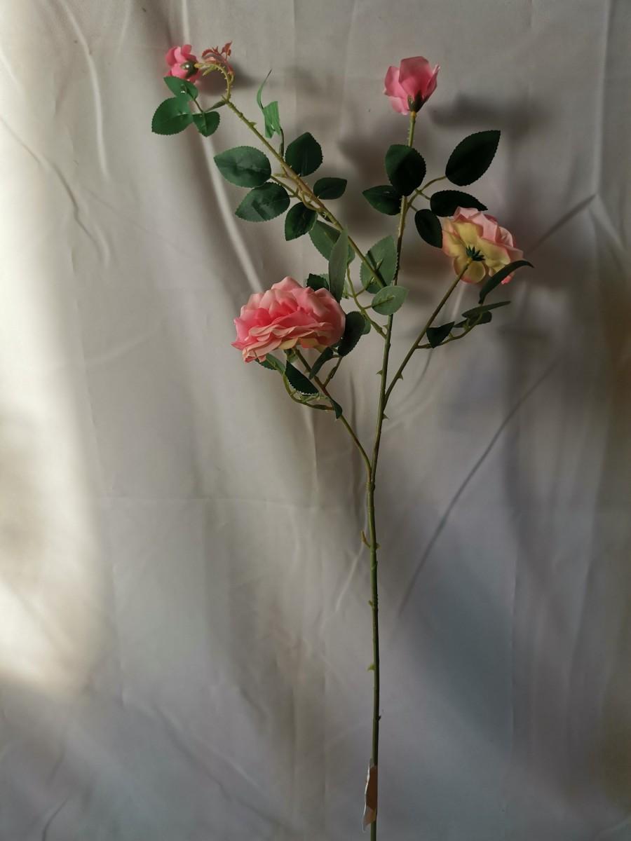 Ветка роз мелких, 88 см, 2 цветка + 2 бутона, 1 штука, пластик, ткань, металл, цвет - розовый.