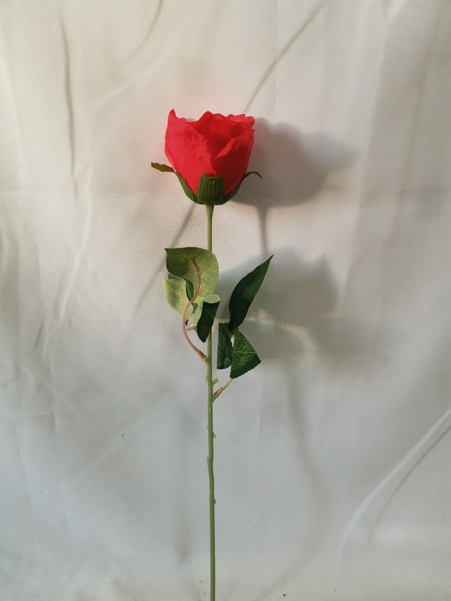 Ветка розы с пенопластом, 46 см, цветок 9 см, цена за 1 штуку, цвет - красный.