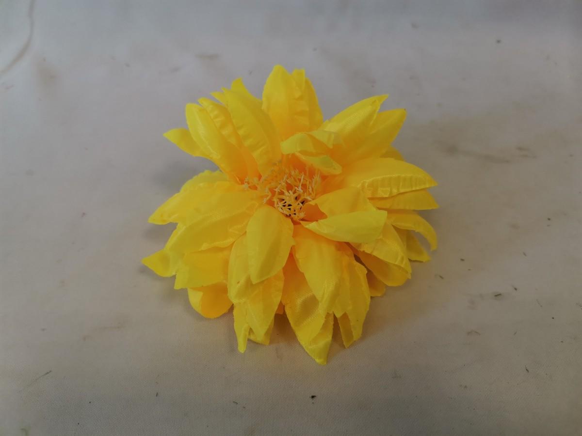 Голова Хризантема желтая, 14 см, 6 сл, атласная, 1 шт (кратн 20 шт)