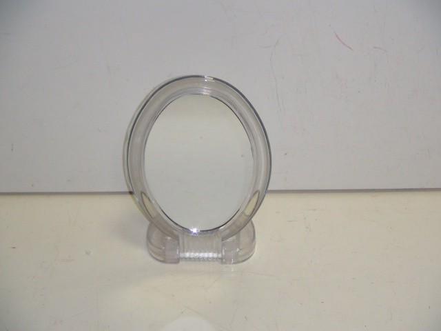 Зеркало овал, двухстороннее, увеличивающее, стекло, пластик, 16,5 см.