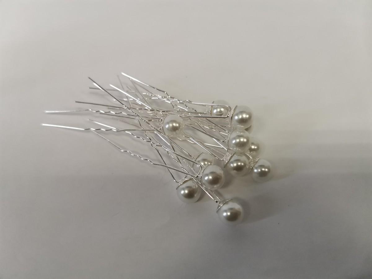 Шпильки декоративные с жемчугом, цена за 12 штук, цвет - белый.