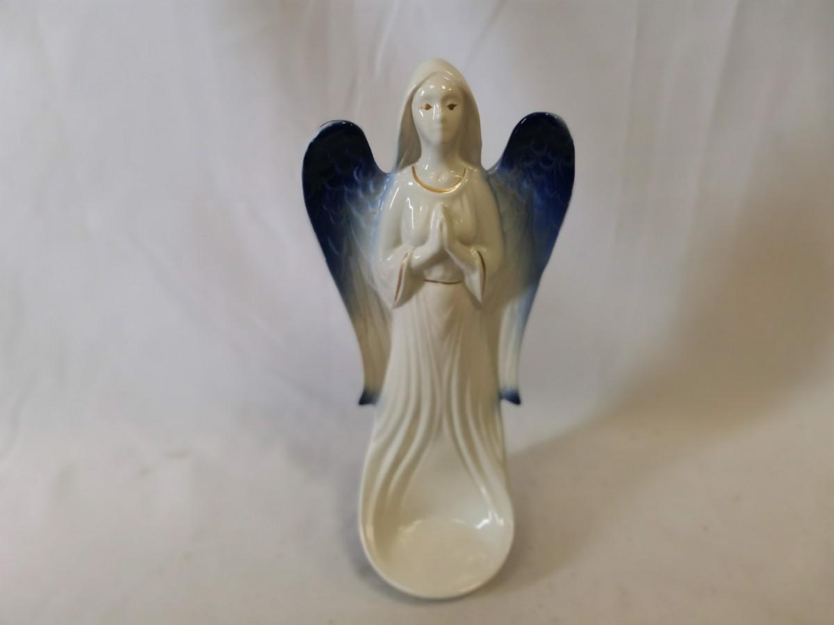 """Подсвечник """"Ангел"""", 31 см, керамика, белый с синими крыльями."""
