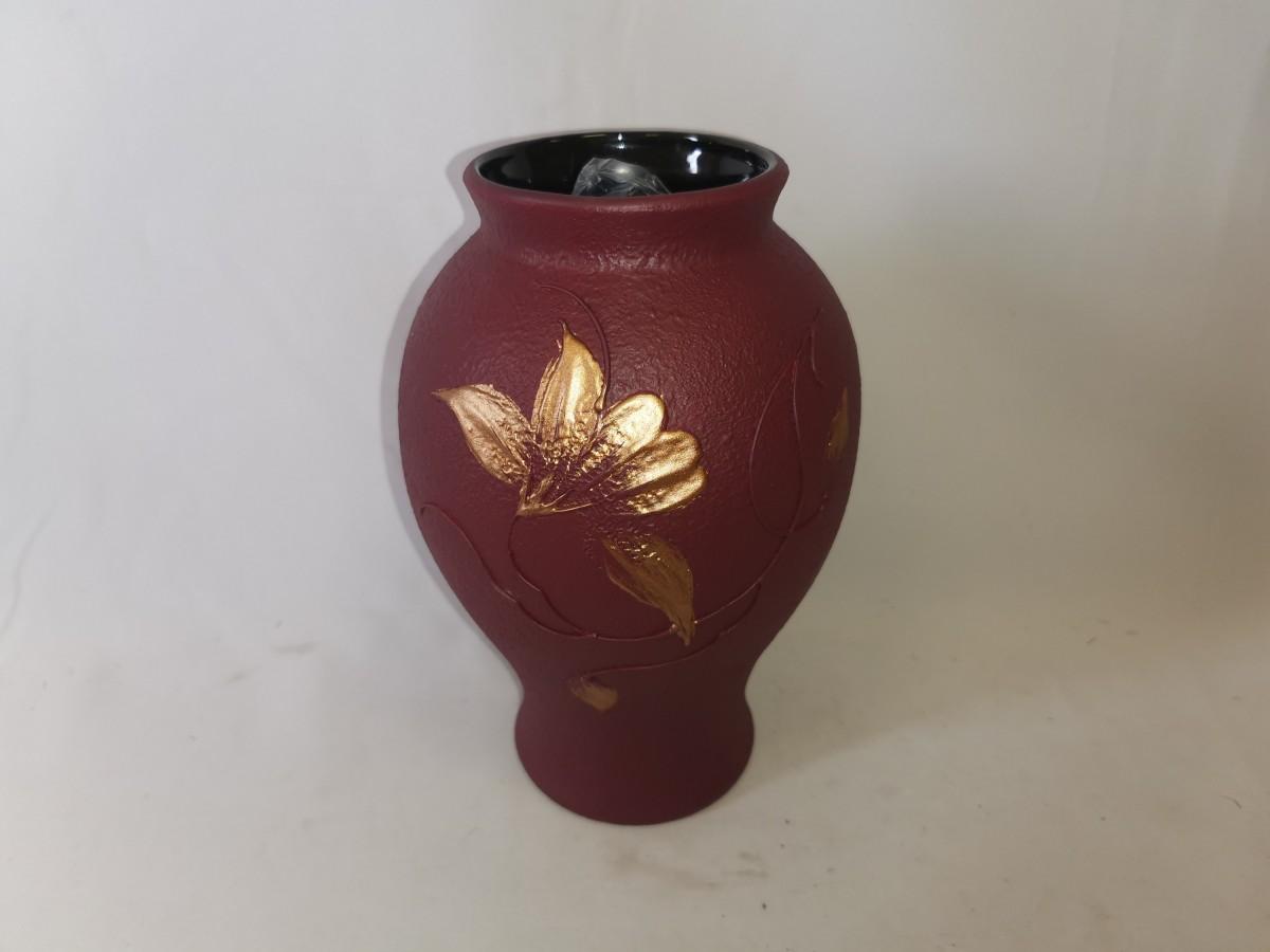 """Ваза """"Шарм"""", 24*16 см, керамика, цвет - бардовый."""