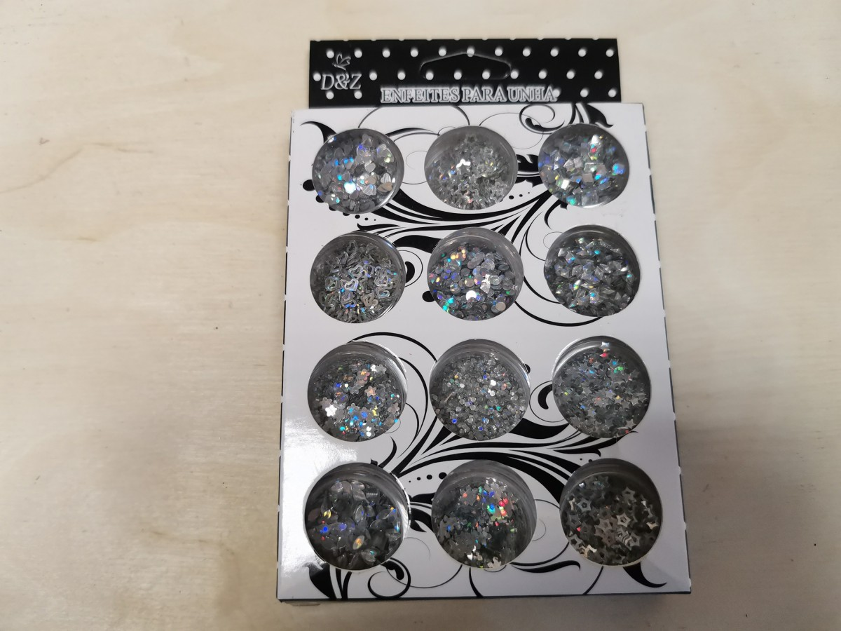 Украшения для нейл - арта, 12 баночек, цвет - серебро.