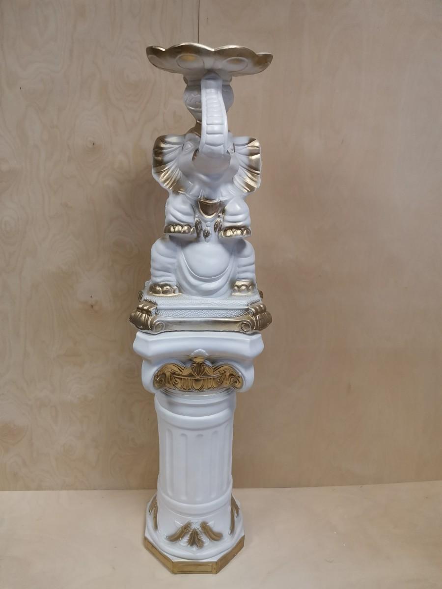 Комплект: колонна + слон, h - 140 см, цвет - белый с золотом, гипс.