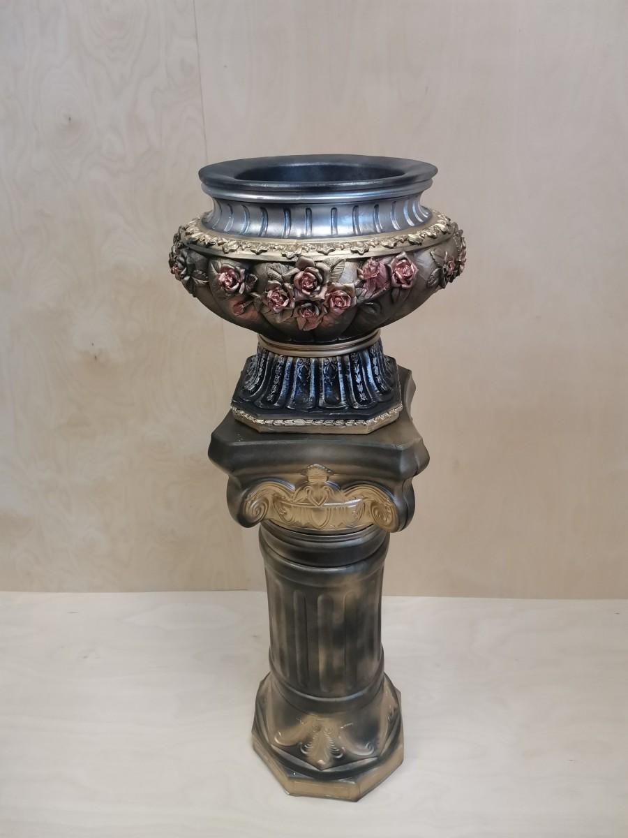 Комплект: колонна + вазон, h - 122 см, цвет - бронза с золотом, гипс.