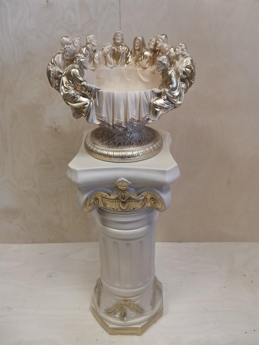 Комплект: колонна + ваза, h - 120 см, цвет - слоновая кость, гипс.