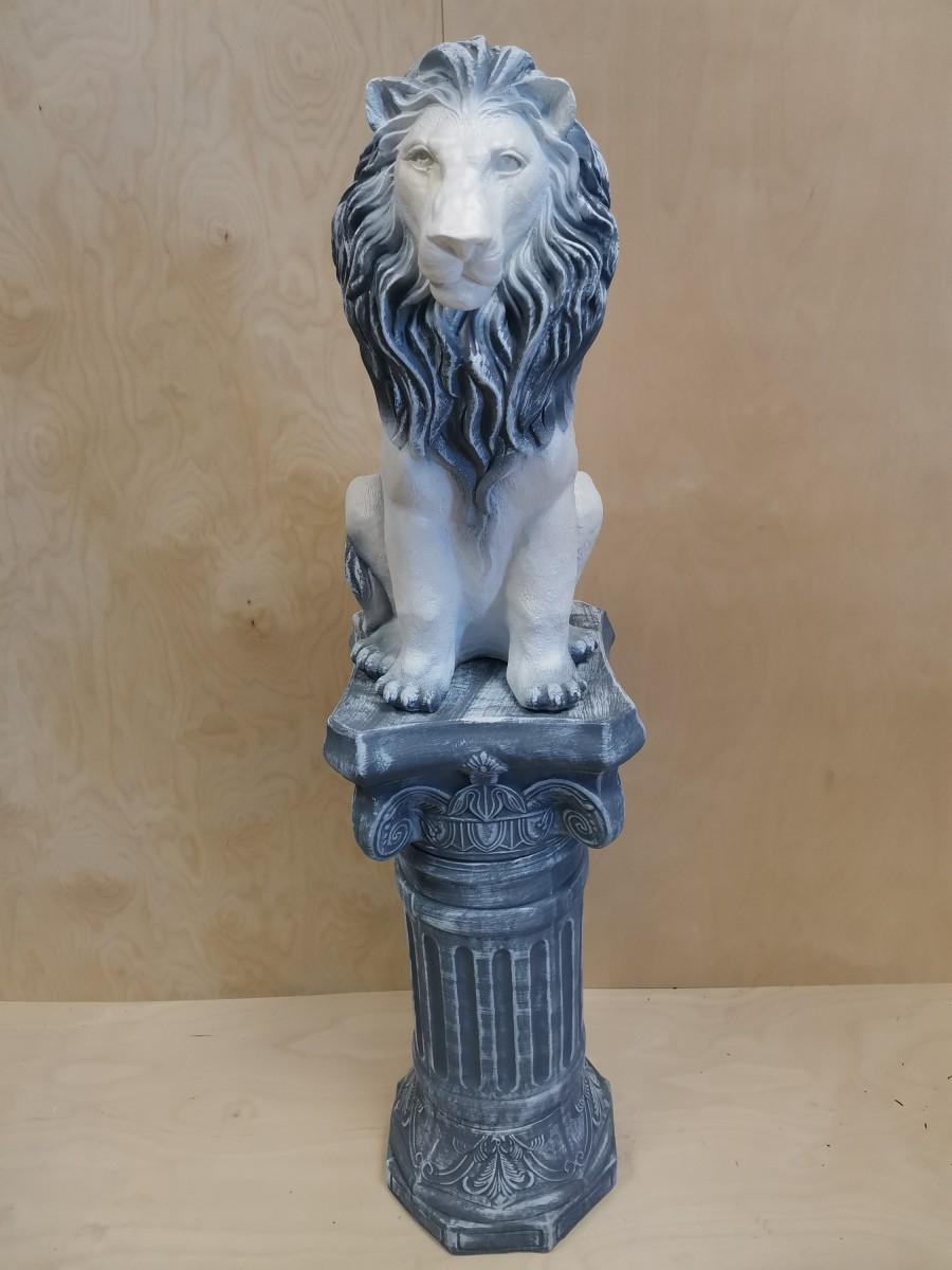 Комплект: колонна + лев, h - 136 см, цвет - античный, гипс.