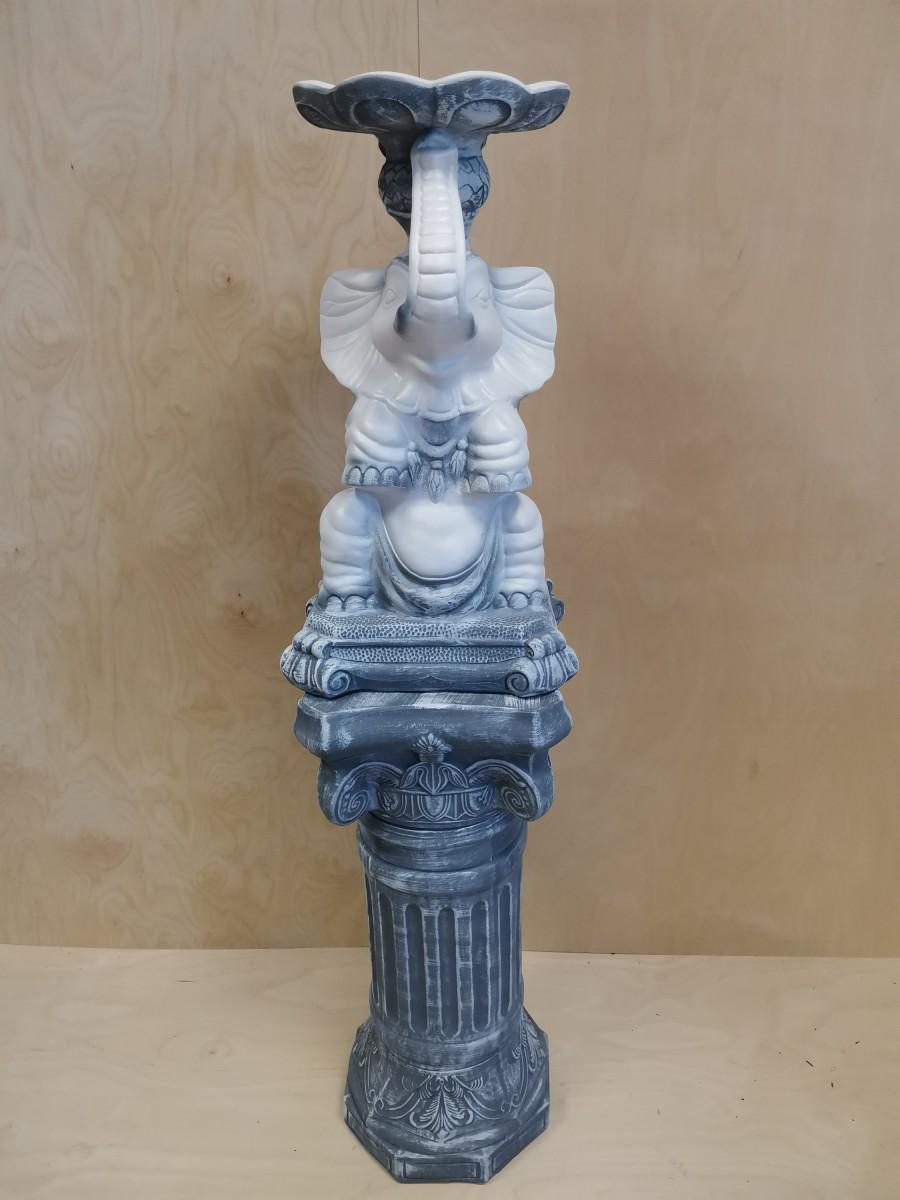 Комплект: колонна + слон с чашей, h - 136 см, цвет - античный, гипс.