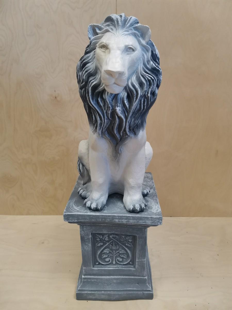 Комплект: колонна + лев, h - 97 см, цвет - античный, гипс.