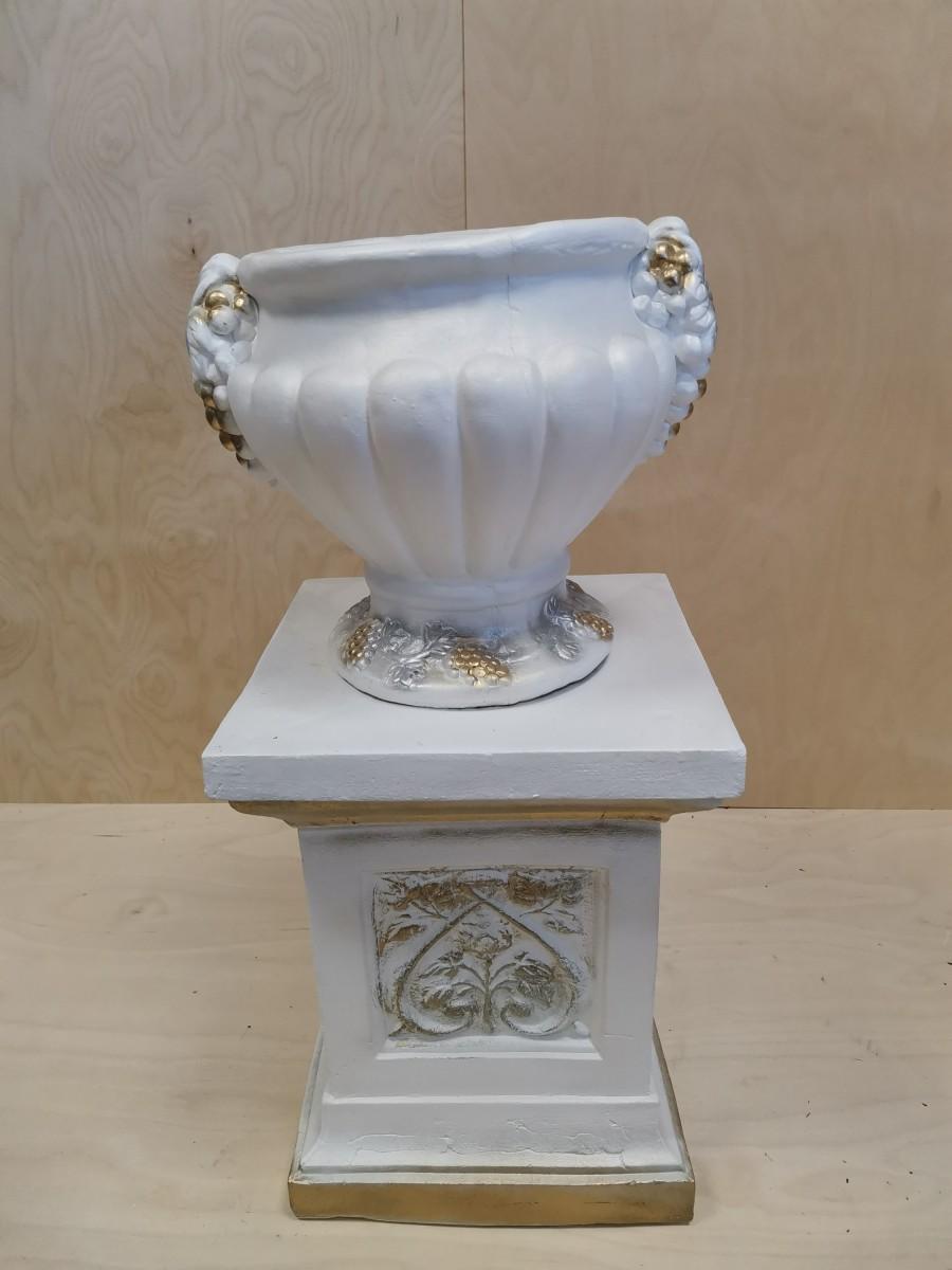 Комплект: колонна + ваза, h - 69 см, цвет - белый с золотом, гипс.