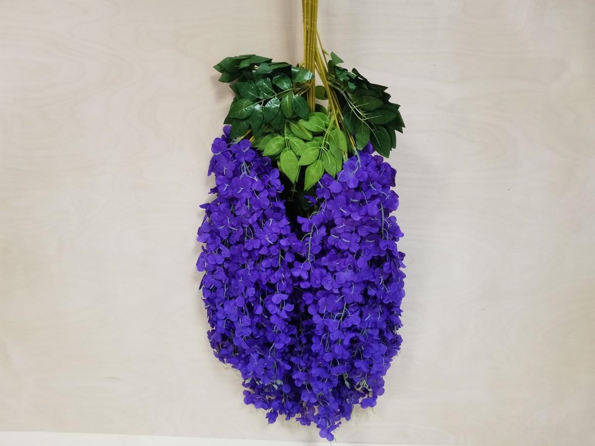 Искусственная ветка глицинии с большими соцветиями, h - 1,06 м, цена за 12 штук, цвет - фиолетовый. На фото связка из 12 штук.