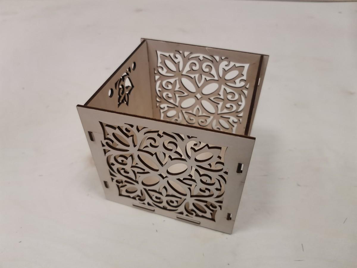 Ящик подарочный, 14*13*12,5 см, фанера 3 мм.
