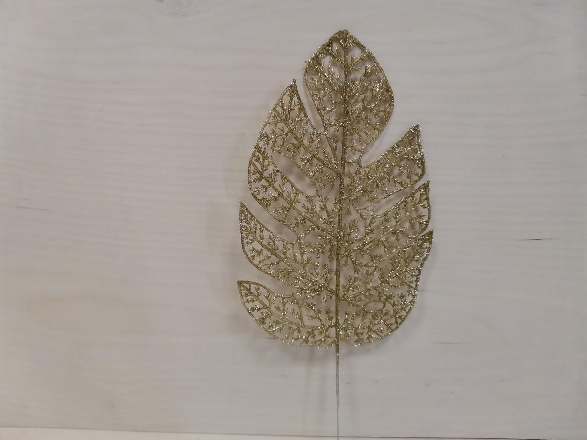 Лист Монстеры с цветным напылением, 23/34 см, 1 штука, цвет - золото.