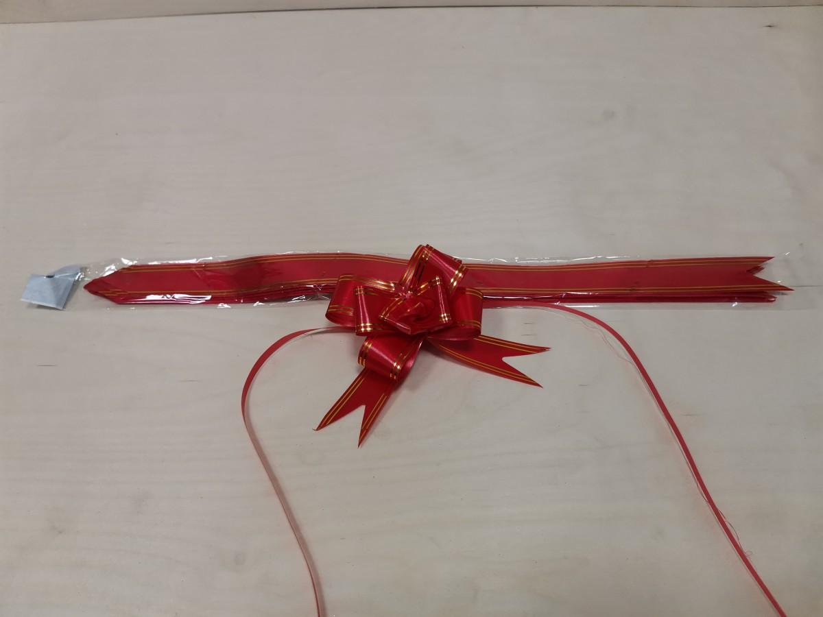 Бант - бабочка, 32*570, золотая полоса, красный, цена за 10 штук.