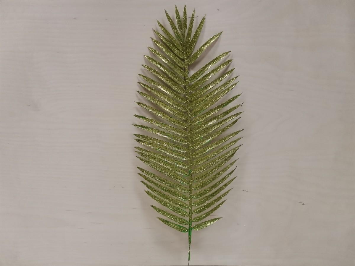 Лист пальмы с цветным напылением, 54 см, 1 штука, пластик, металл, цвет - зелёный.