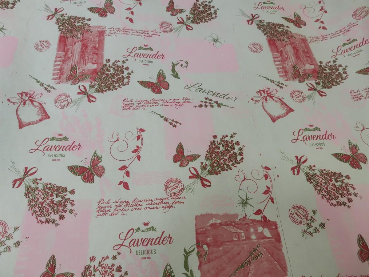 Бумага крафт белый 70 см*10 м, 60г/м2, бело-розовый с бабочками.