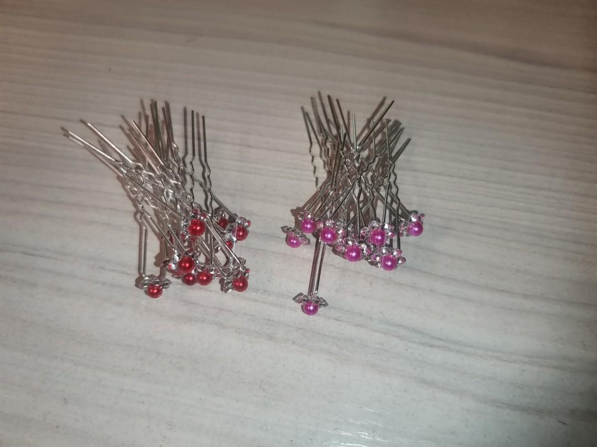 Шпильки для волос, цветок со стразами и жемчугом, цвет -малиновый, красный (12 шт)
