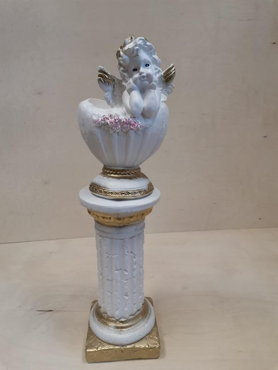 Комплект: колонна + ангел-кашпо, 81 см, белый с золотом.