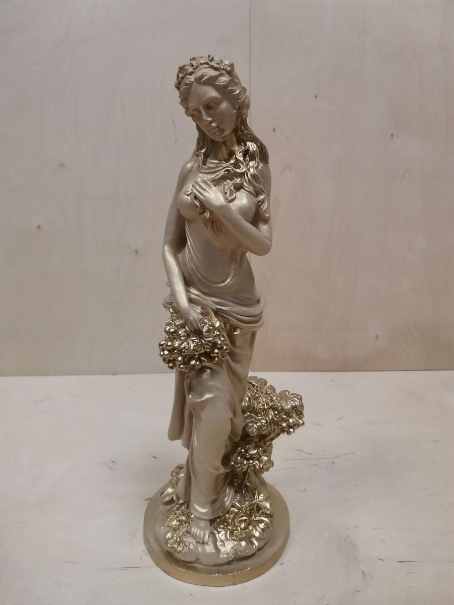 Девушка с виноградом, h - 50 см, цвет - слоновая кость.