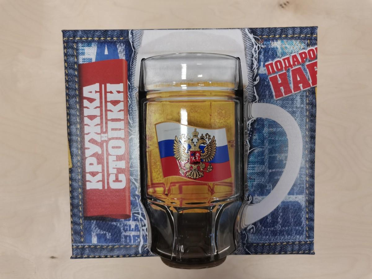 """Набор подарочный 7 предметов: пивная кружка + 6 рюмок, """"Герб на флаге""""."""