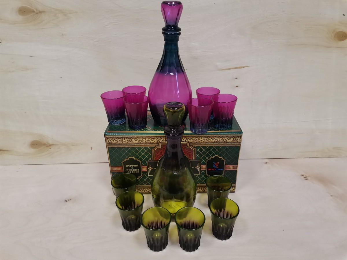 """Набор для вина : графин + 6 рюмок, цвет в ассортименте, """"Дионис""""."""