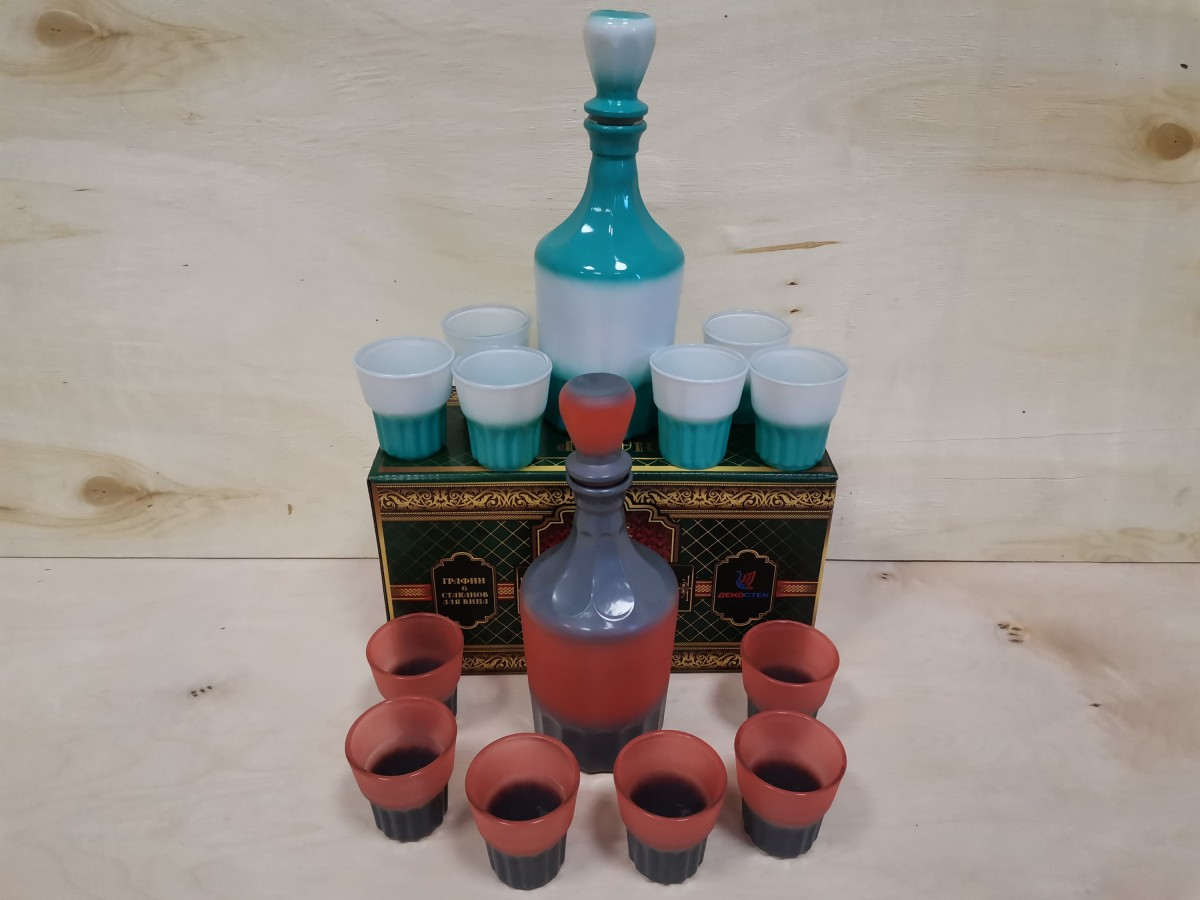 """Набор для вина : графин + 6 рюмок, цвет в ассортименте, """"Цезарь""""."""