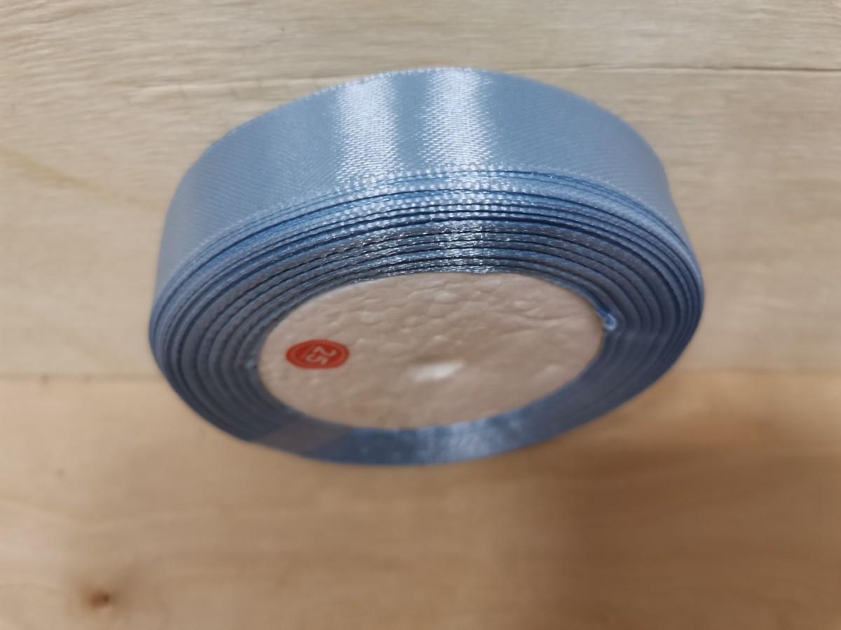 Лента тканная атласная, 19 мм * 25 ярдов. Цвет - голубой.
