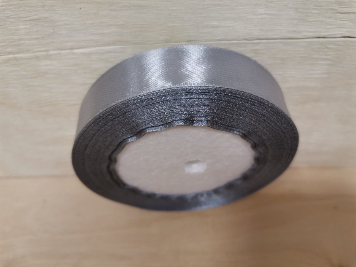 Атласная лента тканная, 19 мм * 25 ярдов, серебристая