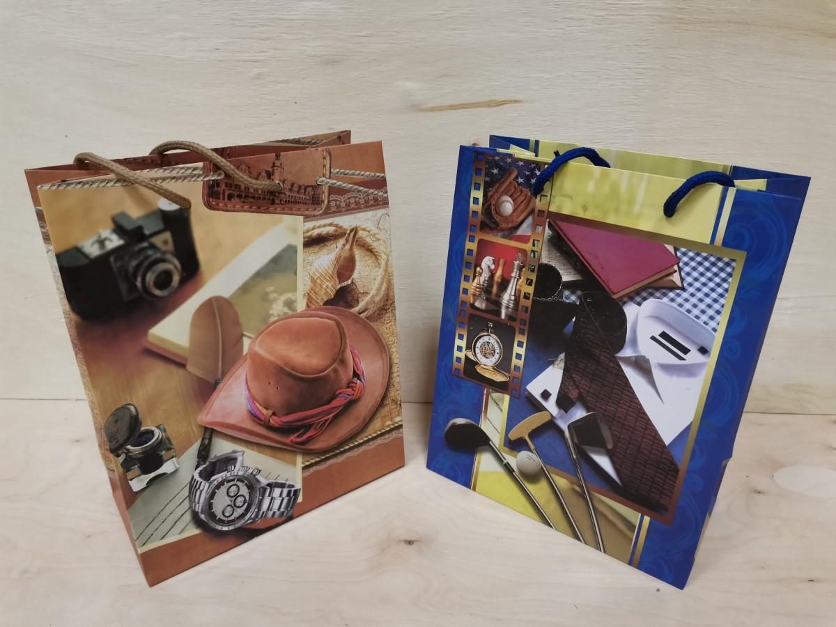 Пакет подарочный с ручками, 23*18*10 см, бумага, цена за 1 штуку, цвет в ассортименте.