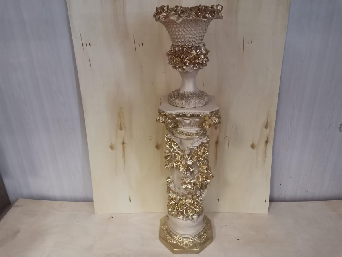 Комплект: колонна Афина + ваза Кубок, h - 132 см, гипс, цвет - слоновая кость.